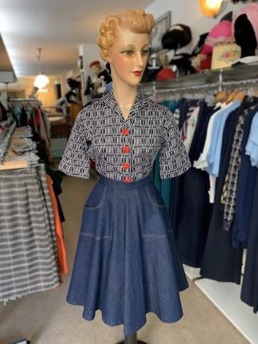 Betty Jo Skirt Blue Denim Regular