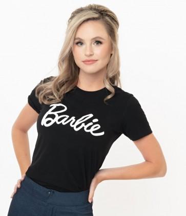 Barbie x Unique Vintage Black Barbie Logo Womens Tee