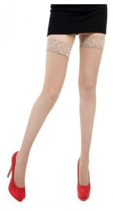 Fishnet Lace Top Hold Ups Natural