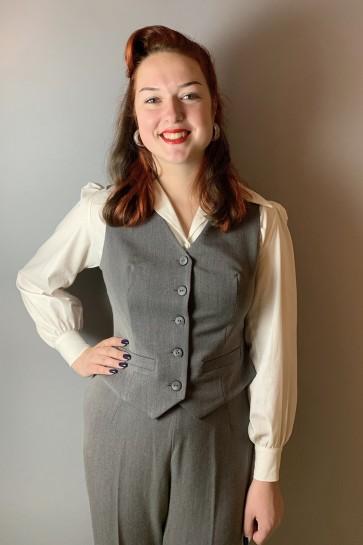 Garbo 1940s Waistcoat Grey