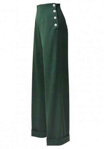 1940s Swing Trousers Racing Green