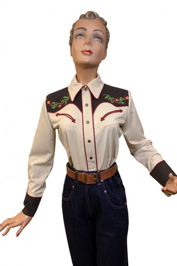 Mary Lou Western Blouse Brown