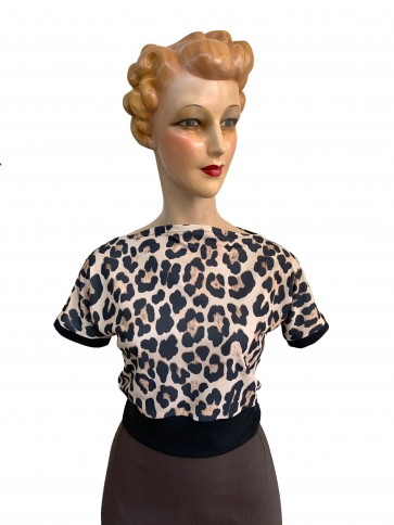 Polly 1950s Top Leopard