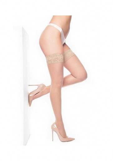 Lace Top Hold Ups Natural