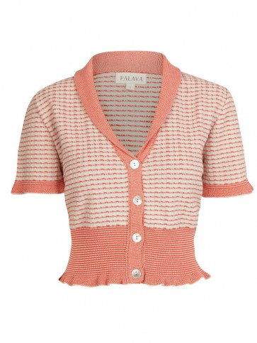 Short Sleeve Cardigan Red/Cream