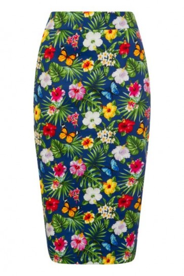 Wiggle Skirt Summer Floral Navy