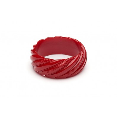 Wide Red Heavy Carve Duchess Bangle