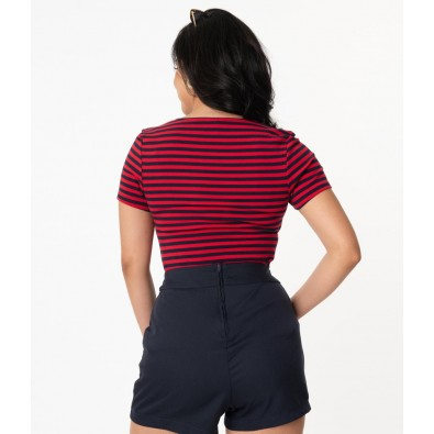 Navy & Red Stripe Sweetheart Ruthie Top