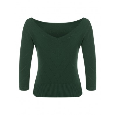 Bardot Boat Neck Jumper Green