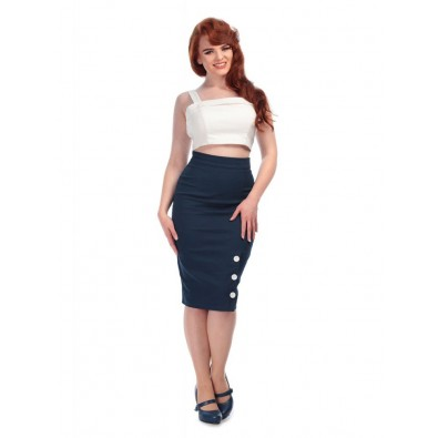 Charlotte Pencil Skirt Navy
