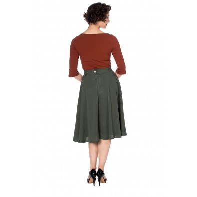 Cute As A Button Skirt Olive Green