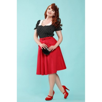 Dakota Plain Swing Skirt Red