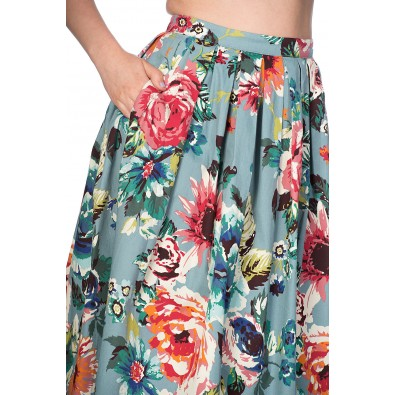 Flare Floral Skirt Green