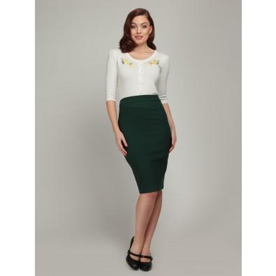 Polly Plain Pencil Skirt Green