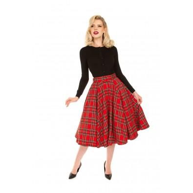 Evie Red Tartan Swing Skirt