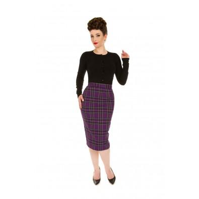 Evie Purple Tartan Wiggle Skirt