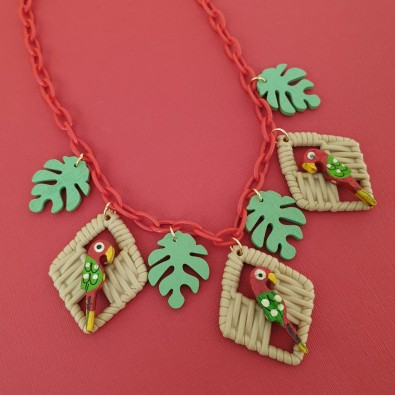 Polly Parrot Necklace Red
