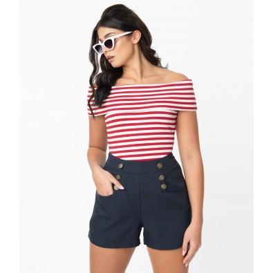 1940s Style Navy Blue High Waist Sailor Debbie Shorts