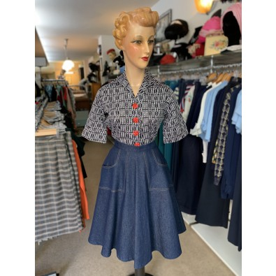 Betty Jo Skirt Blue Denim Regular