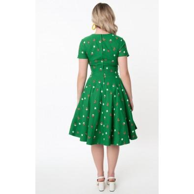 Delores Short Sleeve Green Butterfly Dress