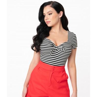 1950s Black & White Stripe Sweetheart Rosemary Top