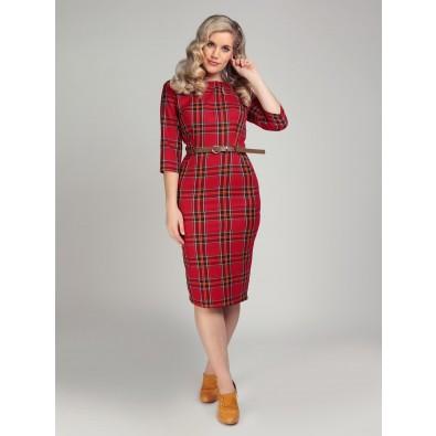 Adeline Berry Check Pencil Dress