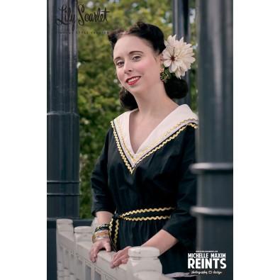 Rosa Patio Dress Black & Cream