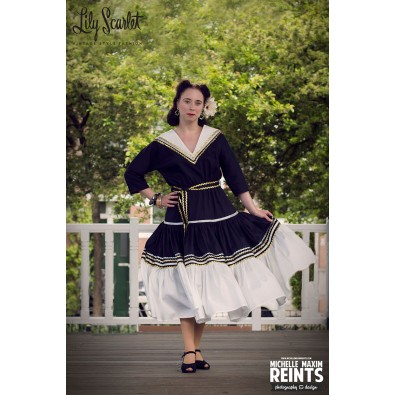 Rosa Patio Dress Black & Cream