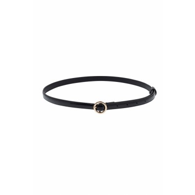 Slim Patent Belt Round Buckle Black