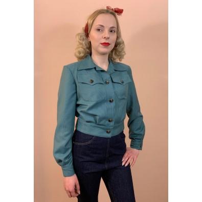 Katherine 1940s Bomber Jacket Houndstooth Petrol