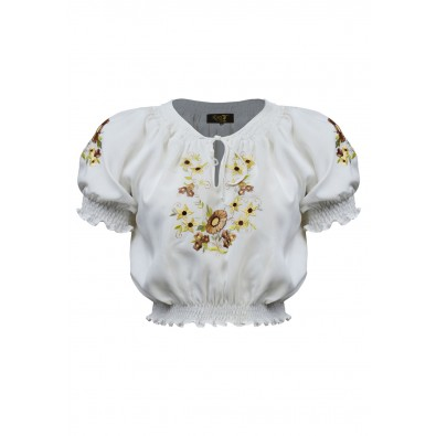 Peasant Blouse Ivory Gold