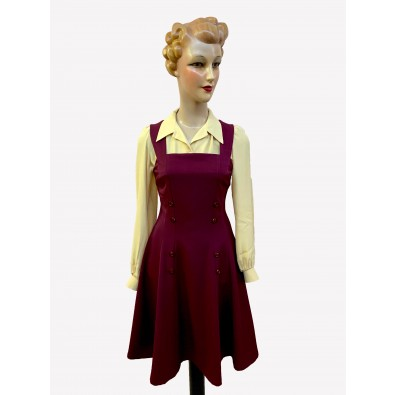 Dorothy 1940s Pinafore Dress Burgundy