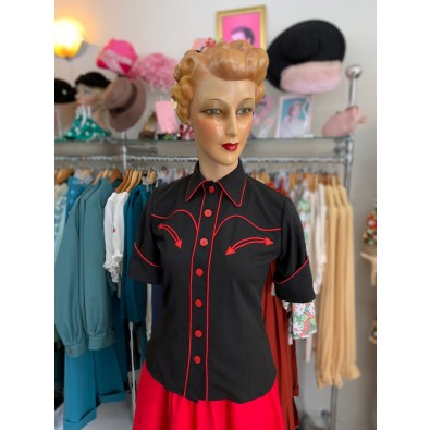 Lorraine Western Blouse Black/Red