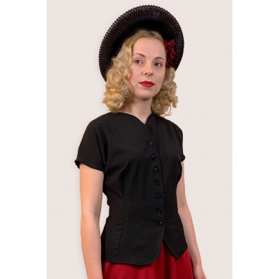 Joan 1940s Top Black
