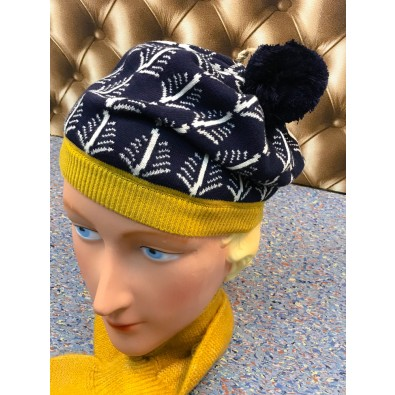Organic Cotton Beret Navy / Cream Feathers