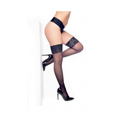 Lace Top Hold-ups Black