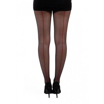 Jive Seamed Tights Black & Red