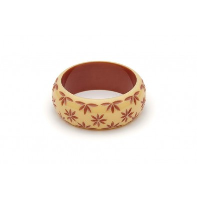Wide Lait Carved Maiden Bangle