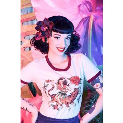 Aloha Ringer T-shirt Natural/Maroon