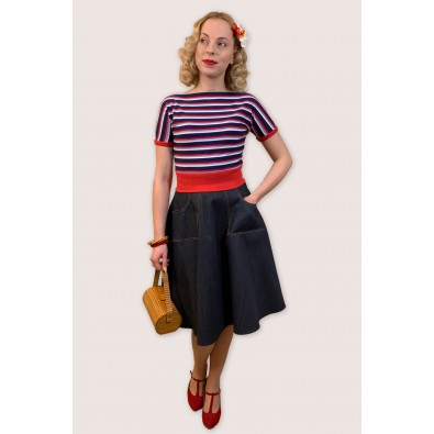Polly 1950s Top Navy Red