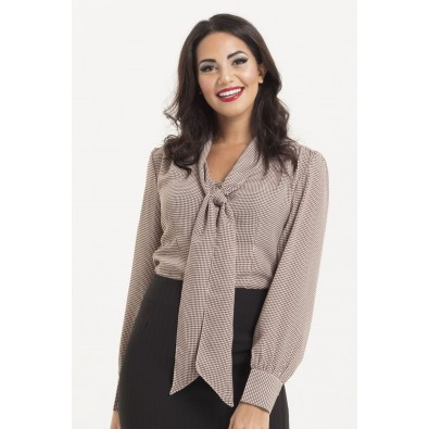 Madeline 40s Style Houdstooth Blouse Brown